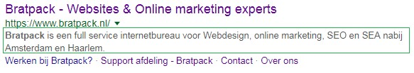 Voorbeeld meta description Bratpack