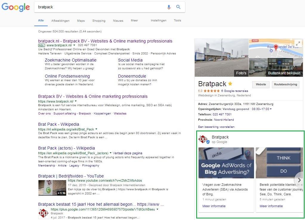 Resultaat google post in zoekresultaten